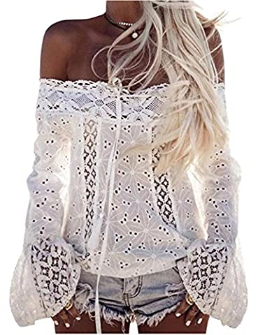 Longwu Women Floral Lace Off the Shoulder Long Flare Sleeve Casual Shirt Tops Blouse White-S