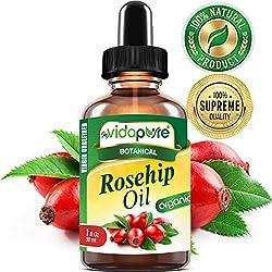 Bio-Rosenöl mit hohem Gehalt an Vitaminen A, C, E. Für Fältchen, Schals, STRETCH MARKS, Gesicht, Körper, Haare, Lippenpflege, 1 Fl.oz.- 30 ml. von myVidaPure