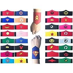Pack de 32 pulseras de superhéroe para niños, niñas y niñas Fiesta de cumpleaños de superhéroe, suministros favores, brazalete de fieltro de superhéroe, accesorios de pulsera Correa para la muñeca