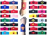 KRUCE 32 Pack Superhero Bracelet for Kids Boys & Girls Superhero Birthday Party Favors,Superhero Felt Bangle,Wristband Accessories Wrist Strap