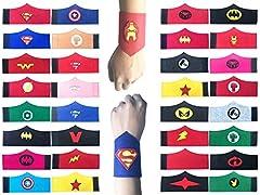 Idea Regalo - KRUCE 32 Pack Superhero Bracciale per Bambini Ragazzi e Ragazze Supereroe Compleanno Feste Bomboniere, Supereroe Bracciale in feltro, Accessori cinturino Cinturino da polso