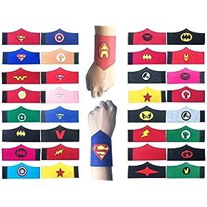 32 Pack Superhero Armband für Kinder Jungen und Mädchen Superhero Birthday Party Supplies Gefälligkeiten, Superhero Filz Armreif, Armband Zubehör Handschlaufe