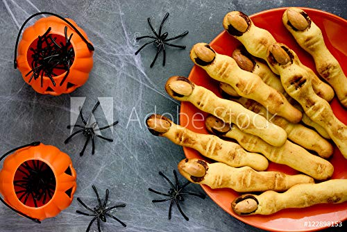 druck-shop24 Wunschmotiv: Halloween Witch Finger Cookies for Kids, Funny Recipe for Halloween #122898153 - Bild auf Leinwand - 3:2-60 x 40 cm / 40 x 60 cm (Halloween Finger Für Cookies)