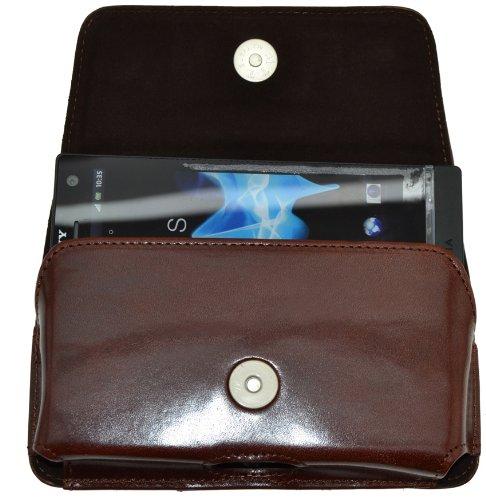 MTT Original Quer-Tasche mit Gürtelclip und Sicherheitschlaufe für Sony Xperia T braun