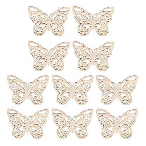 Demiawaking 10pcs farfalle legno fiore legno decorazioni in legno da appendere abbellimenti legno craft forme artigianali in legno appeso fai da te scrapbooking ornamenti (farfalle)