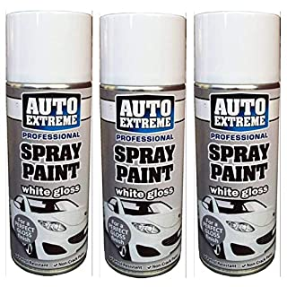 3x 400ml Auto Extreme Professional Quality Perfect Finish White Gloss Aerosol Spray Paint Cans For Cans Bikes Vans & Other surfaces