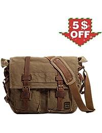 """Men's Shoulder Bag, Berchirly Vintage Military Men Canvas Messenger Bag For 13.3-17"""" Inch-Back To School"""