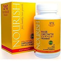 Nourish Beaute–Nourish crescita capelli Vitamine con BIOTINA e DHT blockers-