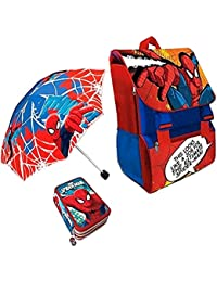 Kit Scuola 3 in 1 School Promo Pack Zaino Estensibile + Astuccio 3 Zip Accessoriato + Ombrello Salvaspazio SPIDERMAN Uomo Ragno Marvel Edizione Nuova
