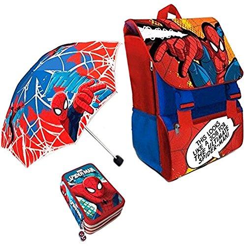 Kit scuola 3 in 1 school promo pack zaino estensibile + astuccio 3 zip accessoriato + ombrello salvaspazio spider man uomo ragno marvel edizione nuova