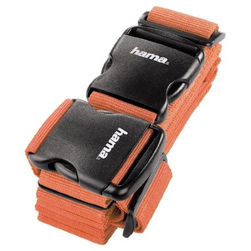 Hama 2-Wege-Gepäckgurt (doppeltes Band zum sicheren Verschließen der Koffers auf Reisen, 5 x 200 und 5 x 230 cm) orange (Orange Elektronik)