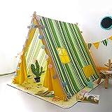 Mogicry Raya verde Teepee Juego Casa Ins Bebé Interior Habitación de juguete al aire libre Decoración del hogar Lona de algodón de pino Tienda Hombres y mujeres Regalo para niños 3+(140*120*127 CM)