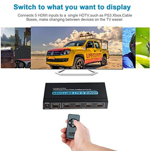 Dvi-600 Mhz-tv (Aktuell HDMI 2.0 HDCP 2.2 Switch Umschalter mit Fernbedienung 2017- 3D 4Kx2K@60Hz Ultra HD, 4 in 1 out, HDMI Adapter für Laptops, DVD, HDTV, PS3, Xbox360, Projektor)