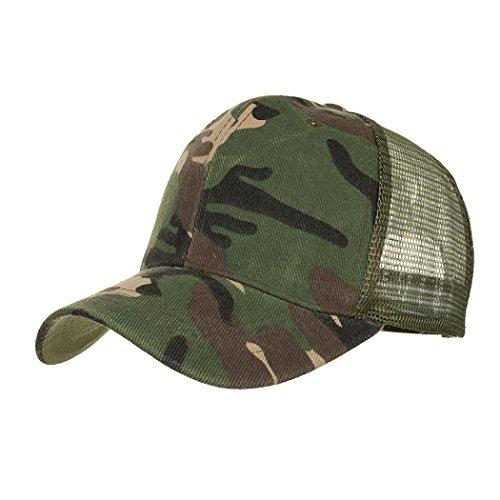 Caps Baseballmützen Camouflage Tarnung Sommer Cap Mesh Hüte für Männer Frauen Casual Hüte Hip Hop Baseball Caps Einstellbar Sunday (Armeegrün) - Mesh-suede Cap