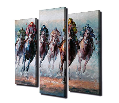 Lienzo Panel cuadro colgante de pared Split arte Carreras de Caballos Royal Ascot Copa de oro de Cheltenham Festival Jockey National Hunt soporte de Aintree Grand National Festival Champion Racehorse 5piezas Deporte