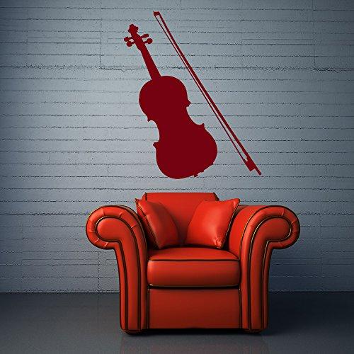 Vinyl Wandtattoo Violine Geige Symphonische Musik Talent Saiten Violinbogen Musikinstrumente Spielen Studio Wandaufkleber Wandsticker Fototapete Wanddekoration für Kinderzimmer Wohnzimmer M134