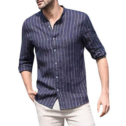 AHAYAKU Herren Baggy Baumwolle Leinen Gestreifte Langarm Taste Retro T Shirts Tops Bluse 2019 Sommer Neu