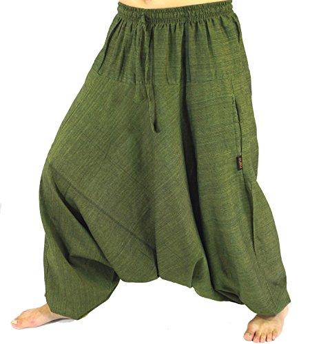 Guru-Shop Haremshose Pluderhose Pumphose Aladinhose aus Baumwolle, Damen, Size:40, Pluderhosen, Aladinhosen Alternative Bekleidung Grün