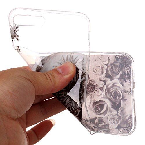 Coque Étui Transparent pour iPhone 8 / 7 Plus, iPhone 8 / 7 Plus Coque en Silicone, BONROY® Cristal Clear Ultra Slim Mince Transparent TPU Silicone Souple Coque Gel Soft Case Housse Anti-choc Etui Cas Crâne Rose