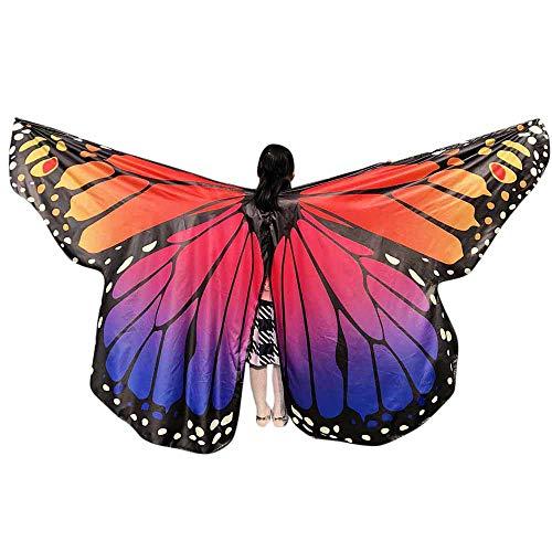 WOZOW Damen Schmetterling Schmetterlingsflügel Kostüm Karneval Fasching Faschingkostüme Poncho Schal Tuch Umhang für Party Cosplay (Mehrfarbig ()