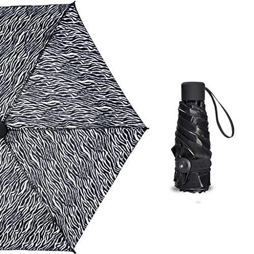 MXH Schwarzer Kleber Sonnenschirm Leicht und klein Sonnencreme Frau UV-Schutz Sonnenschirm,Zebrapattern