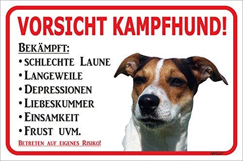 Rainbow-Print Schild Vorsicht Jack Russell Terrier Kampfhund 15x20 oder 20x30 (20x30cm)