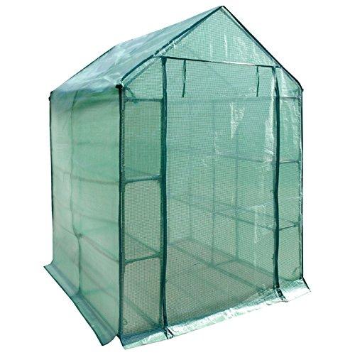 casa pura® Gewächshaus Biotopia | mit 12 Regalböden auf 3 Ebenen | grünes Foliengewächshaus für Tomaten und andere schutzbedürftige Pflanzen | inkl. Bodenankern | 143 (L) x 143 (B) x 195 (H)