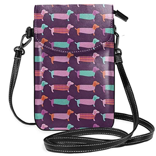 Women Small Cell Phone Purse Crossbody,Sixties Inspired Color Palette With Abstract Pet Puppies Pattern Funky Animals Funky Animal