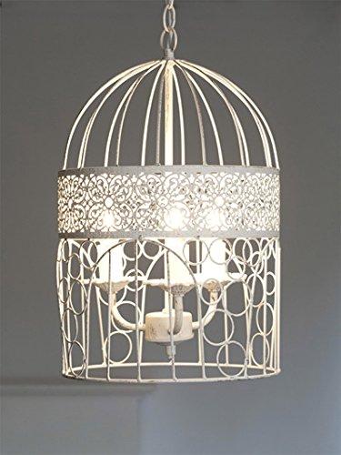 Kronleuchter BIRDCAGE weiß shabby chic Vogelkäfig Hängelampe Deckenlampe - 2