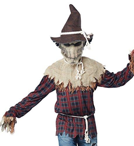 Gefährliche Vogelscheuche Kostüm für Halloween braun-rot S / (Einfach Scarecrow Kostüm)