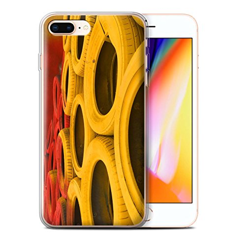 Stuff4 Gel TPU Hülle / Case für Apple iPhone 8 Plus / Asphalt/Tarmac Muster / Rennstrecke Foto Kollektion Reifen/Schranken