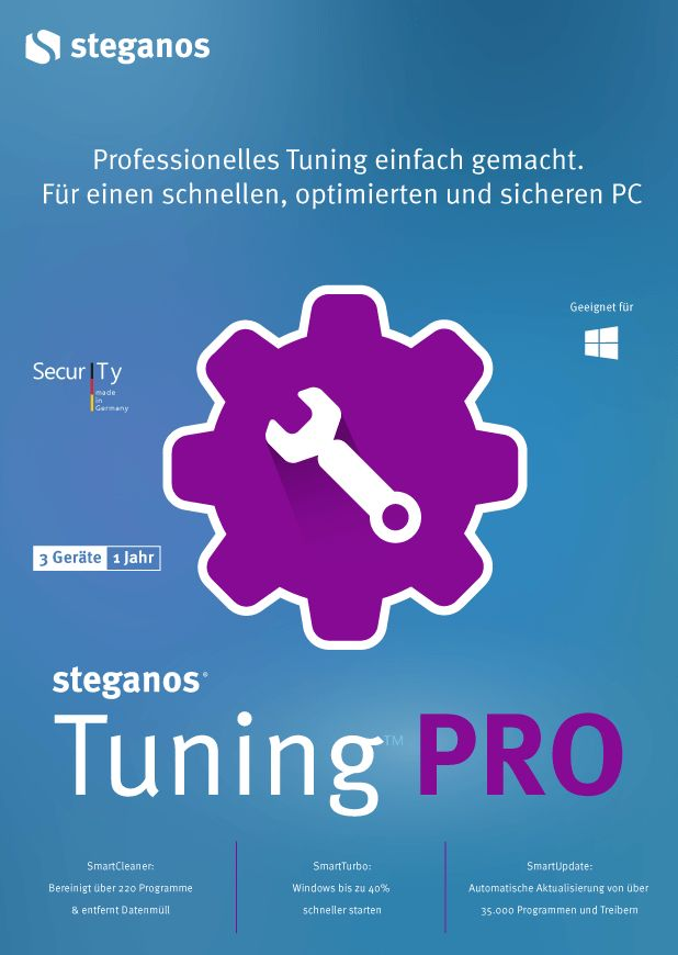 Steganos Tuning PRO - Professionelles Tuning leicht gemacht! Windows 10|8|7 [Download]