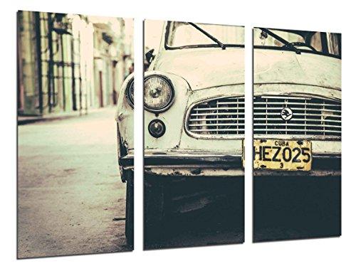 Cuadro Moderno Fotografico Coche Antiguo Skoda, Coche Cuba, Coche Vintage, 97 x 62 cm, ref. 26476