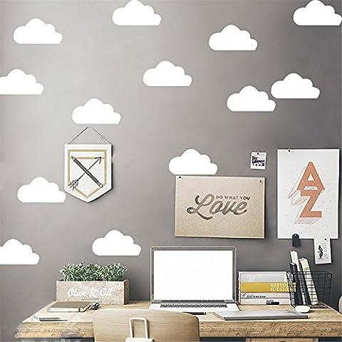 Yanqiao Lot de 10 stickers muraux en vinyle amovible pour décoration chambre d'enfant Motif nuages Couleur au choix, WhiteL, 3.9*2