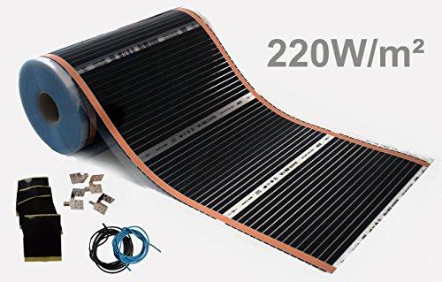 Elektrische Infrarotheizung Fußbodenheizung Laminatheizung Infrarot Fußbodenheizung 220 Watt Rollenware (1,0 m²)