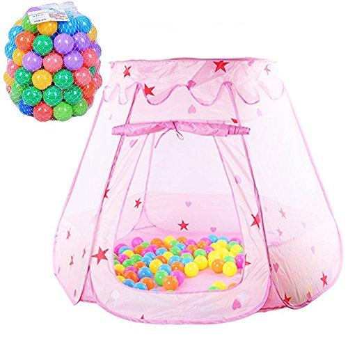 Preisvergleich Produktbild TOPFIRE Princess Kinder Spielzelt Kind's Spielhaus Kinderzelt Bällepool für Drinnen & Draußen mit 100 bunte Bälle