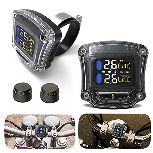 Ggaggaa Sistema sensore Pressione Pneumatici Moto Monitor LCD Impermeabile + 2 sensori Wi Esterni Esterni