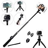 Inalámbrico Selfie Stick, eletecpro ajustable mando a distancia Bluetooth Impermeable Extensible Plegable Telescópico Monopod para GoPro Hero 43+ 32SJCAM SJ4000SJ5000Xiaoyi cámara de acción 4K