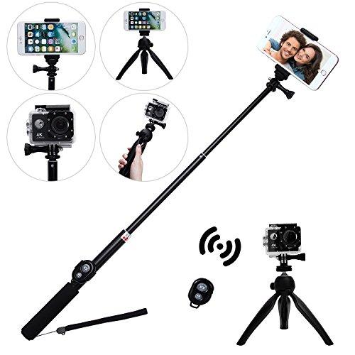 Wireless selfie stick, Eletecpro regolabile telecomando Bluetooth impermeabile allungabile pieghevole telescopica monopiede per GoPro Hero 543+ 32SJCAM Xiaoyi 4K Action Camera