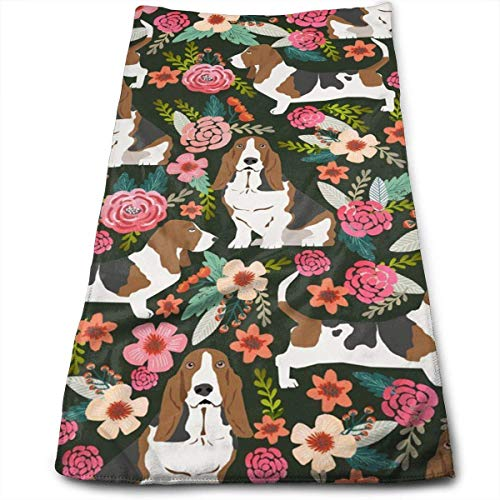 Gxdchfj Basset Hound Florals Kitchen Towels Quick-Drying Hair Towel, Beauty Towel, Sports Towel, Car Towel, Furniture Towel 30 X 70CM/12 X 27.5 In -