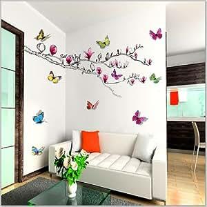 Walplus - Adesivi da parete decoro farfalle brillanti in 3D e 1 adesivo ramo con fiori di magnolia