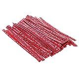 Baoblaze 100 Stück Kraftpapier Twist Ties Bindebänder Bindedraht Twistband Tie Draht für Cone Tüte Süßigkeitentüten OPP Tütchen - rot