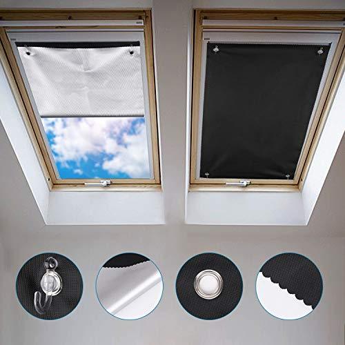 Johgee Dachfenster Rollo Thermo Sonnenschutz Silberbeschichtung Verdunkelungsrollo für VELUX Dachfenster GGU GGL GPU GPL GHU GHL GTU GTL GXU GXL (ohne bohren mit Saugnäpfen,Größe 60x93cm)
