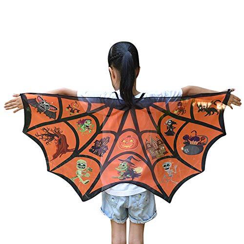 Enfant Fille Garçon Chauve-Souris Cape Écharpe Coloré, QinMM Deguisement Costume Carnaval Anniversaire Dessinée Costume de Sorcier Vêtements Cosplay Bambin Gamins