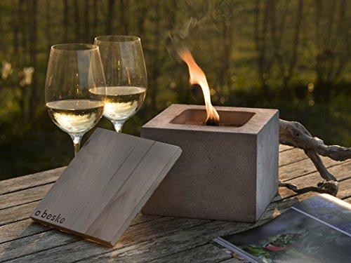 Beske-Betonfeuer mit 'Dauerdocht' | Größe 17x17x13 | Wiederbefüllbare Gartenfackel in zeitlosem, puristischem Design | 'Unendliche' Brenndauer durch umweltfreundliches Recycling von Kerzenwachs