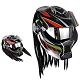 TOL MY Casco Four Seasons Flip Collision, Casco da Motociclista Jagged Warrior Harley Retro Scorpion Open Full Helmet Four Seasons per Uomo e Donna (faretto a LED),XL