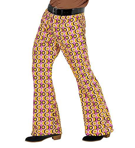 70er Jahre Retro Herren HOSE mit und ohne Muster Disco Kostüm Siebziger Schlager, Größe:L/XL;Farbe:Discs