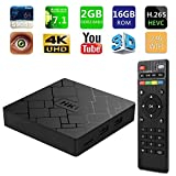 2018 SeeKool 4K 7.1 Android TV Box, 2GB RAM 16GB ROM, Amlogic Quad Core A53 Processor 64 Bits, 2.4GHz WiFi Smart TV Box, HDMI 2.0 Output Support H.265 4K*2K@ 60HZ Ultra HD with Remote Control