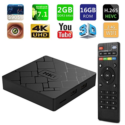 [2018 Latest Version] SeeKool Android TV Box 7.1,Amlogic Quad-Core A53 64 Bits Réel UHD 4K*2K 3D, 2GB RAM 16GB ROM Smart Box avec WiFi 2.4Ghz / HDMI/H.265 /USB * 2