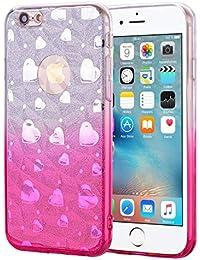 """Nadoli Glitzer Hülle für iPhone 8 4.7"""",Weich TPU Zurück Skin Flexibel 2 in 1 Kristall Glänzend Gradient Rosa Silikon Schutzhülle Etui für iPhone 8 4.7""""/7 4.7"""",Gradient Rosa"""